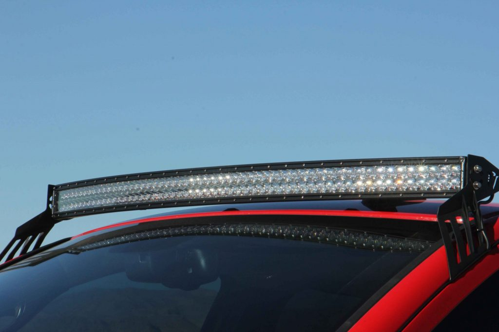 Up top sits a massive 54-inch RDS Series Rigid LED Bar mounted with Rigid's roof mount kit.