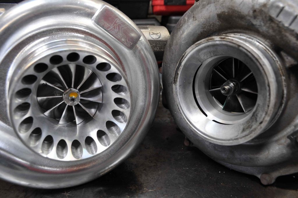 The stock GT3782V turbo (right) is a variable-vane charger made by Garrett and has a 58mm compressor wheel.