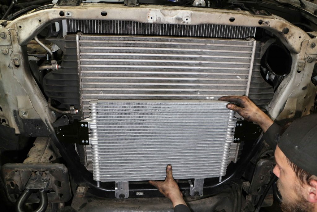 When upgrading a 7.3L to the 6.0L intercooler, the power steering cooler from the 6.0 must be used too.