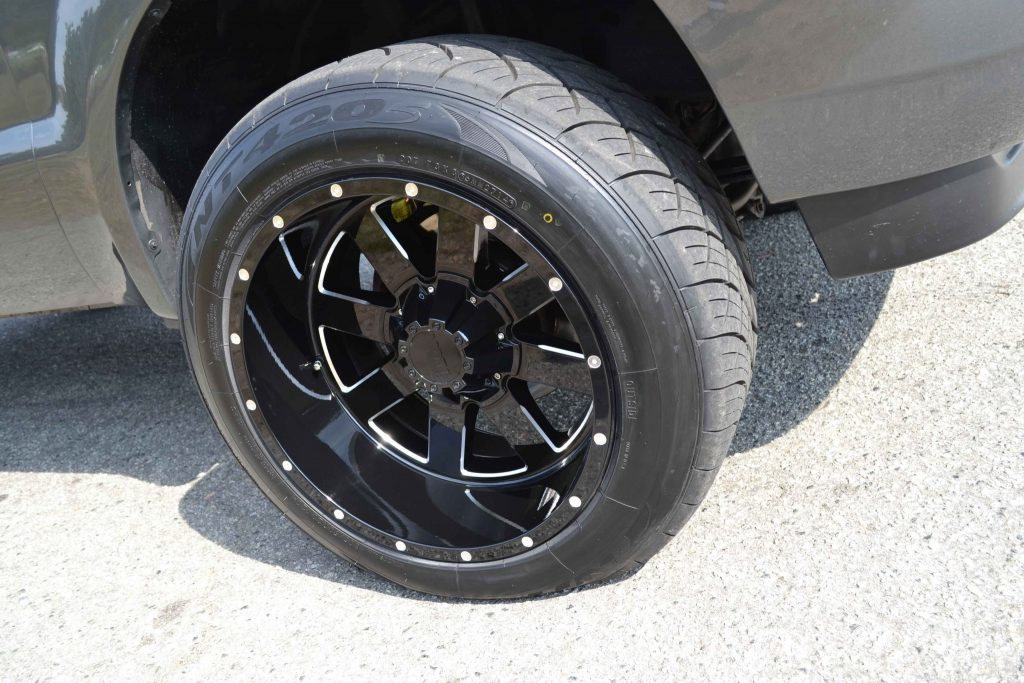 20x12-inch Moto Metal 962 wheels were installed on the truck