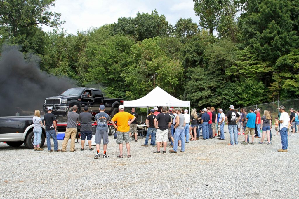 Crowds of diesel enthusiasts gathered around the DP Tuner mobile dyno