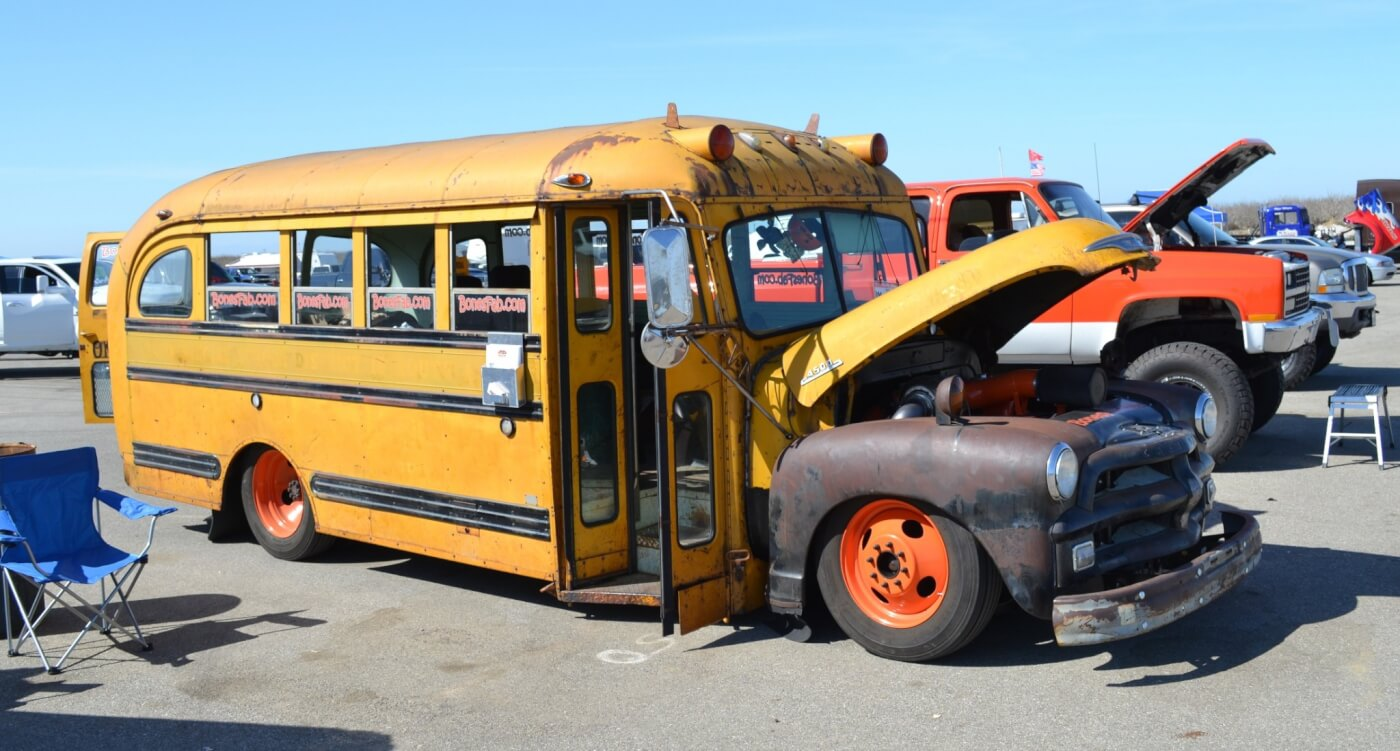 1950s school bus with a compound-turbo 12-valve Cummins