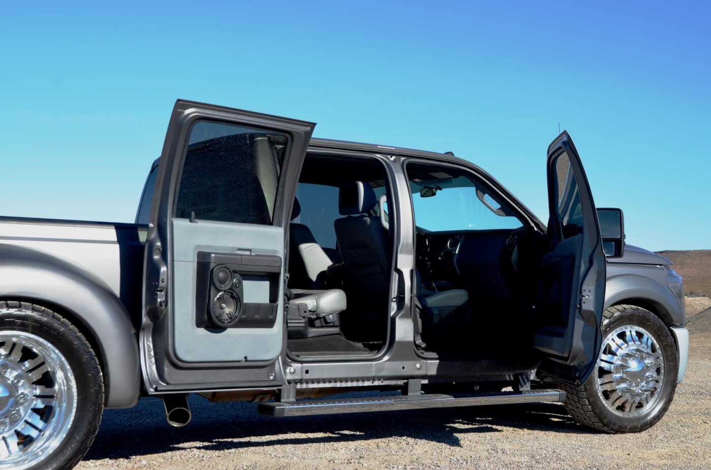 Extensive work was done to reinforce the rear doors which eliminated any sagging when open, which is common with aftermarket suicide door modifications.