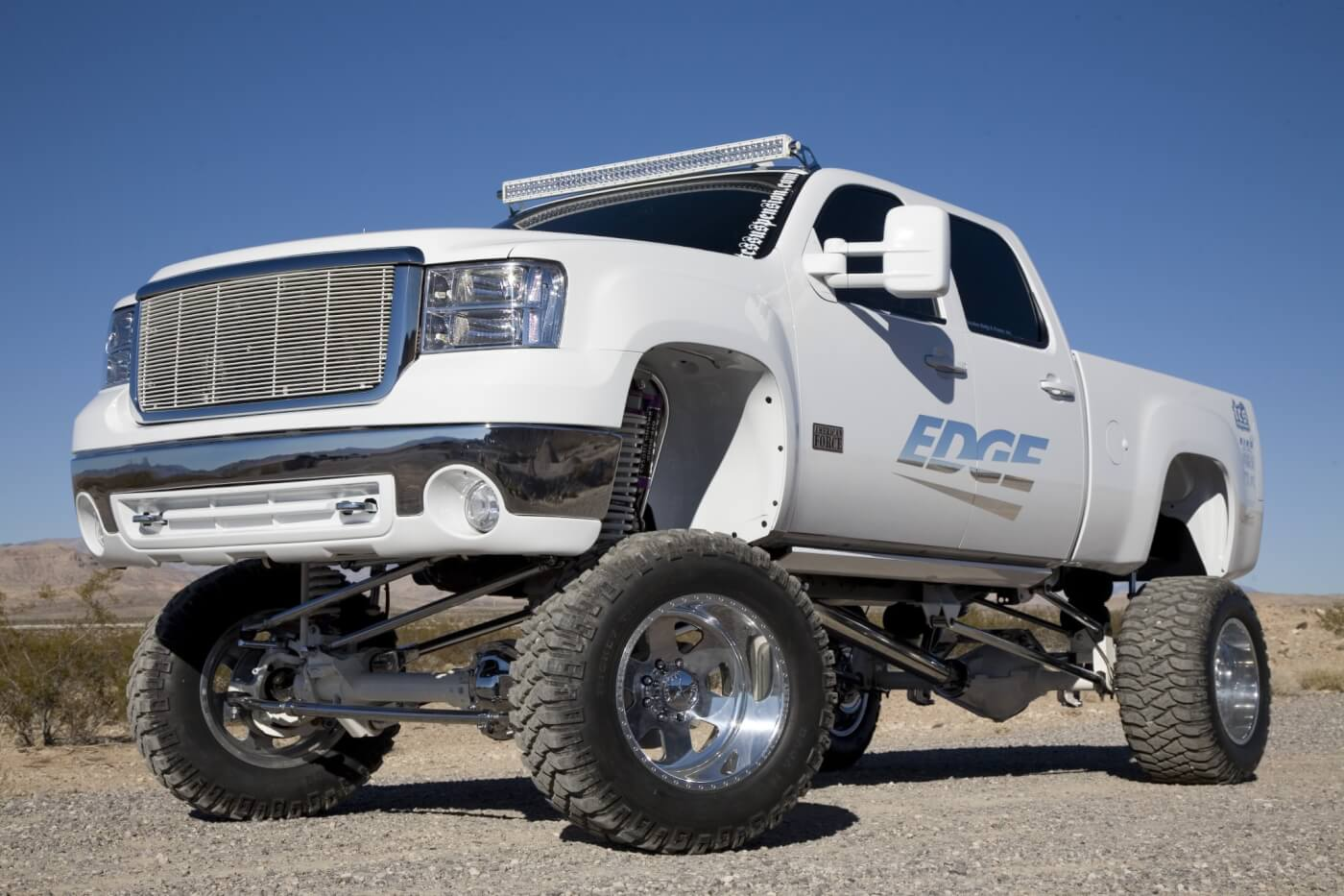 The 2008 Sierra 4x4 truck gets its lift from a 7-inch TCS Suspension kit. The TCS kit is said to be 100-percent bolt-on, no welding or cutting required. Notice the T-Rex grille and the Rigid LED light bar mounted using TCS light bar brackets.