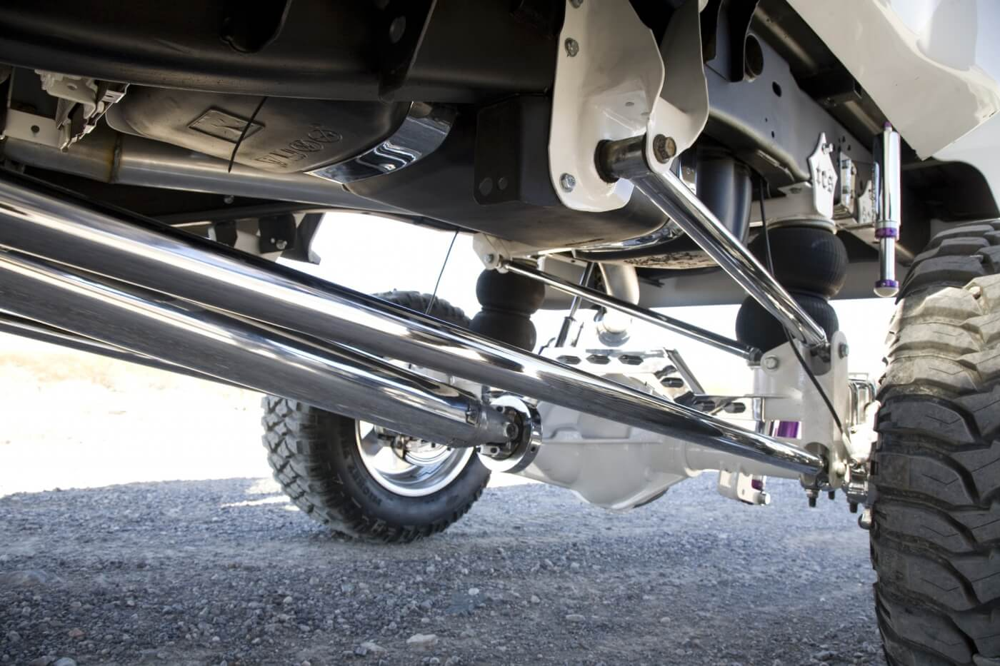The rear suspension is also from TCS. This four-link setup uses an air bag system with King shocks and bump stops.
