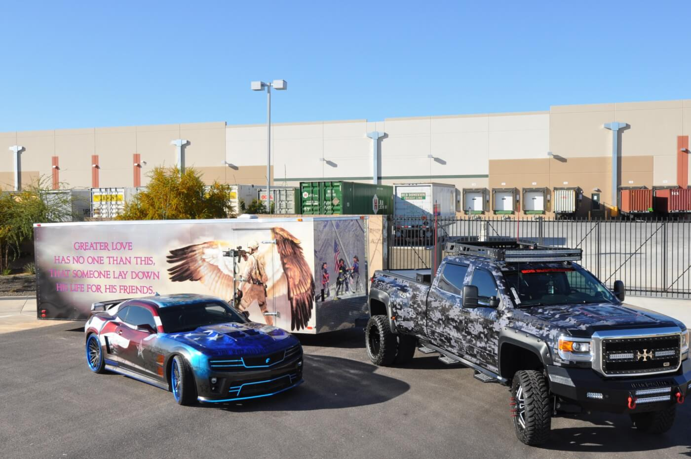 Kelly Fromm is passionate about helping wounded warriors and he takes his decked-out Camaro all over the country to raise awareness. He uses this 2015 GMC Denali to haul the car and trailer.