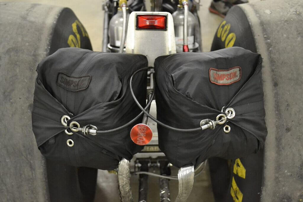 Stopping from more than 220mph requires twin parachutes, which are from Simpson Racing.