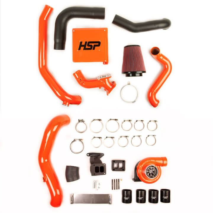 1. HSP Diesel of Romeo, Michigan, offers one of the most complete, well-built, cleanest S300 turbo systems on the market available for the 2001 to 2010 GM Duramax. Looking to increase airflow to the engine, HSp Diesel cuts no corners and includes mandrel-bent piping and a high-flowing, 3-inch, hand-fabricated Y-bridge. Also included in the kit is a cast T4 pedestal from HT Turbo, billet T4 spacer block, fabricated high-flow 4-inch intake system, two-piece downpipe, stainless braided oil feed and drain lines, gaskets, clamps, and required hardware.