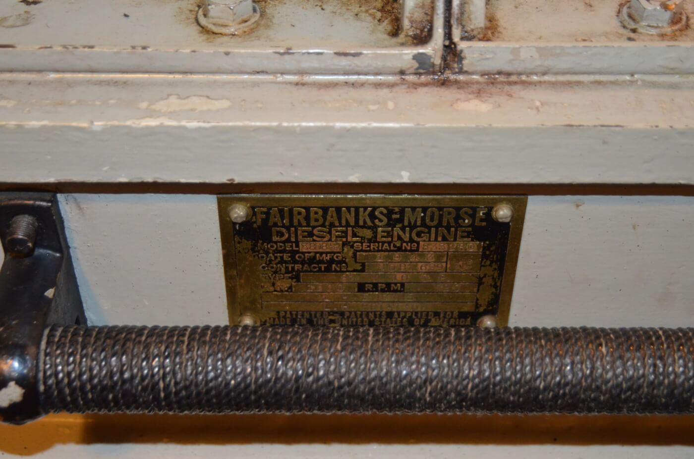 Fairbanks Morse engine data plate.
