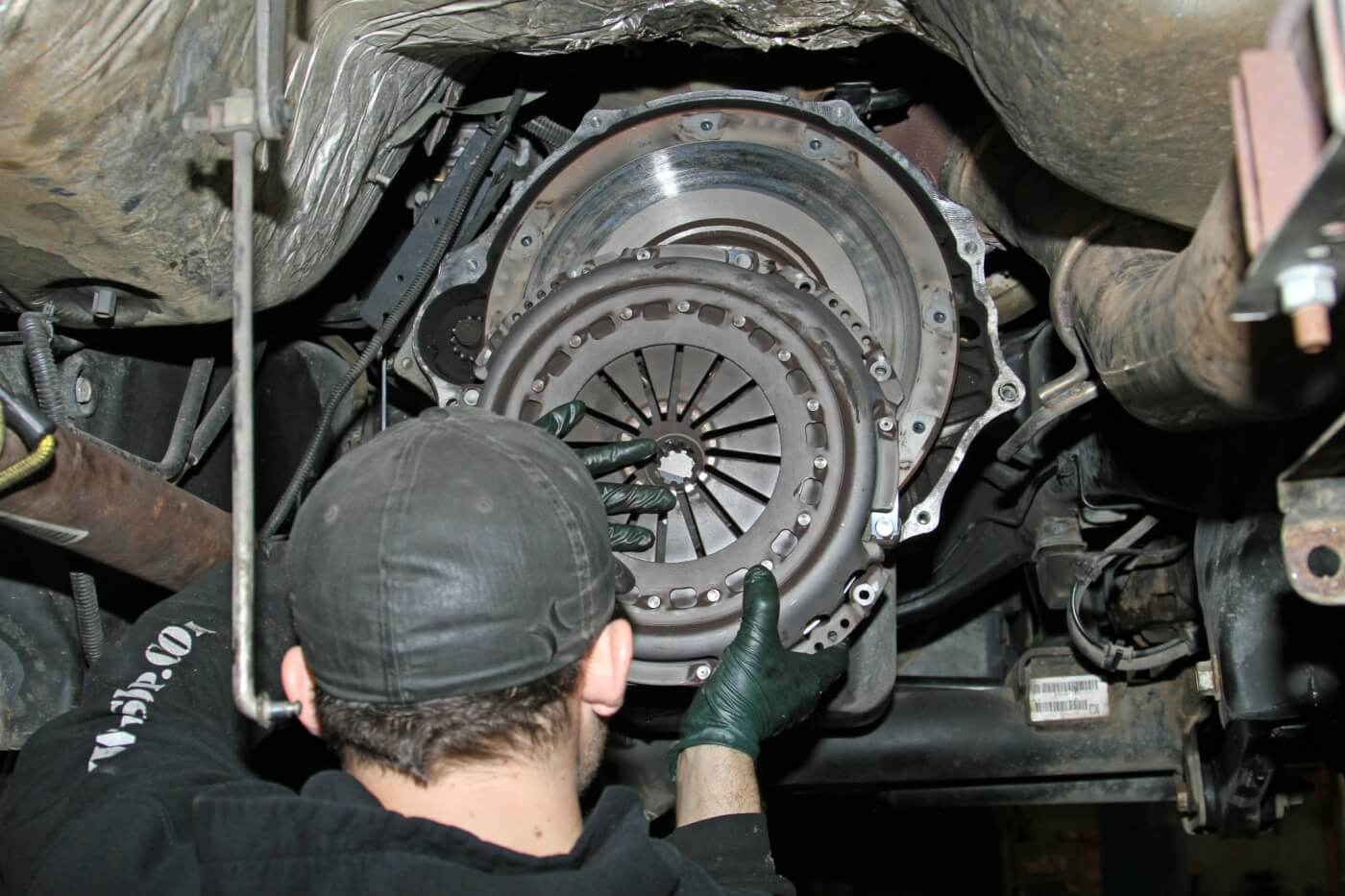 8. When he removed the pressure plate, Meraz noticed that there was some fairly significant heat build-up evident on the flywheel and pressure plate.