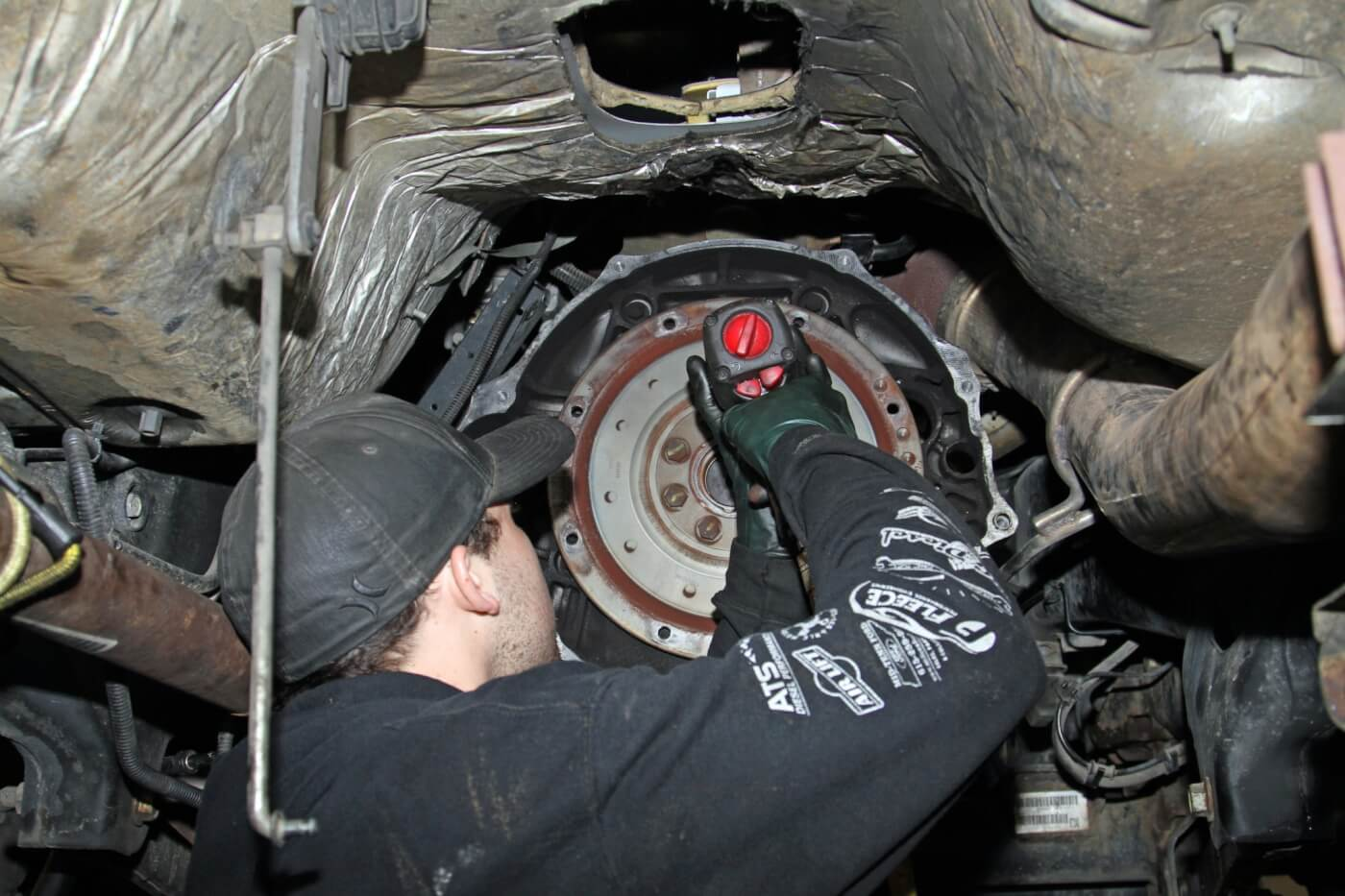 10. The flex plate had to be removed from the crankshaft to install the new single-mass South Bend Clutch flywheel.
