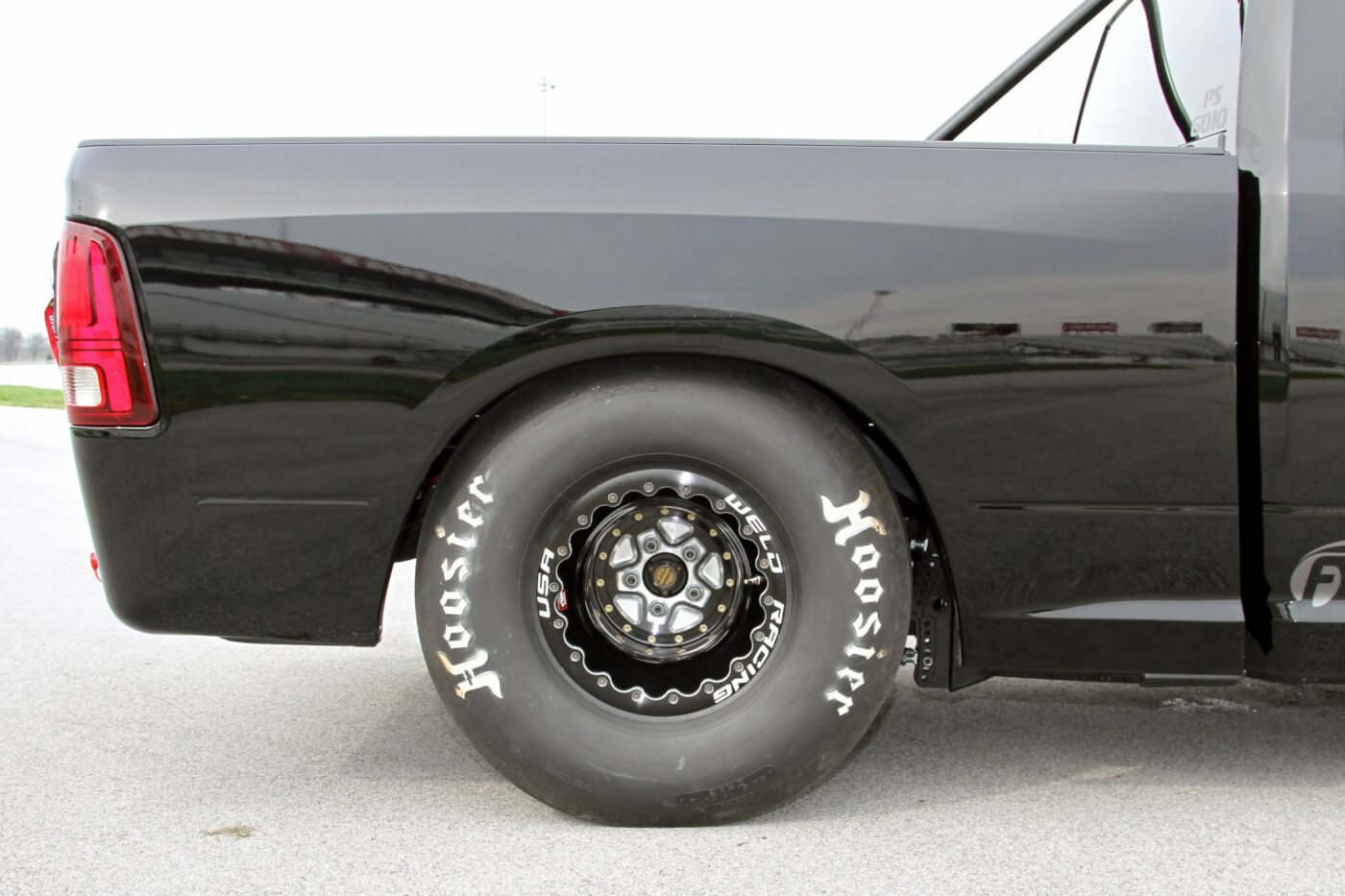 The massive Hoosier 34.5/17-16 slicks are wrapped around and bolted to a set of Weld Racing 16X16-inch AlumaStar PRO double beadlock wheels; hopefully they will give Milliken the traction he needs to put 1,500 horsepower to the ground.