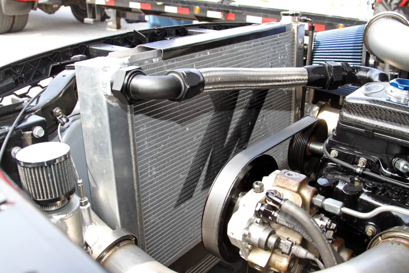 Milliken relies on a Mishimoto aluminum radiator to keep the powerful Cummins cool, as well as a Mishimoto intercooler to keep the intake charge cool when the truck reaches top speeds.