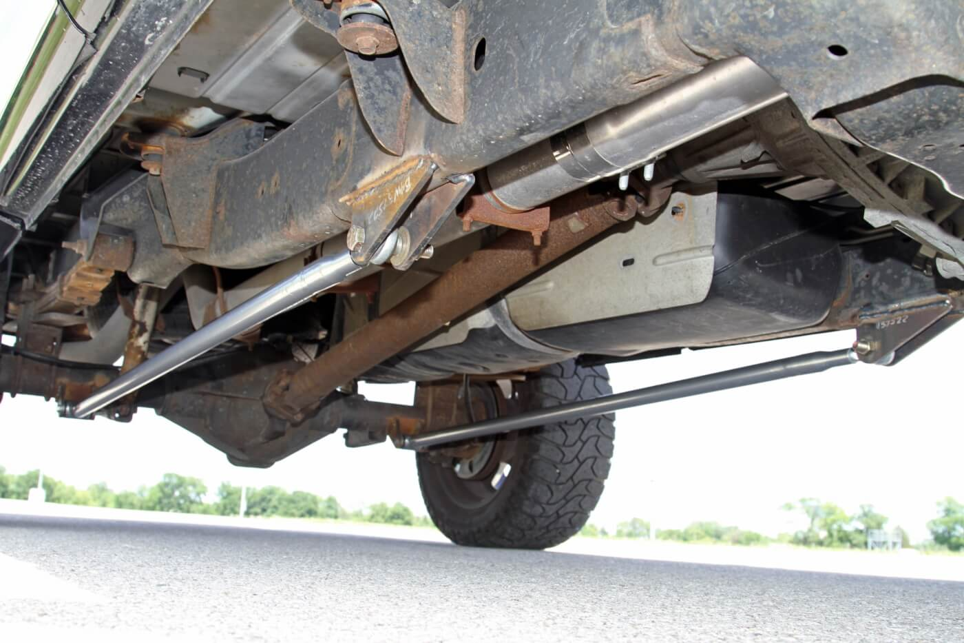 To keep the rear axle from trying to twist itself out of the chassis, Patrick Rector built this set of custom traction bars that link the axle tubes to the frame.