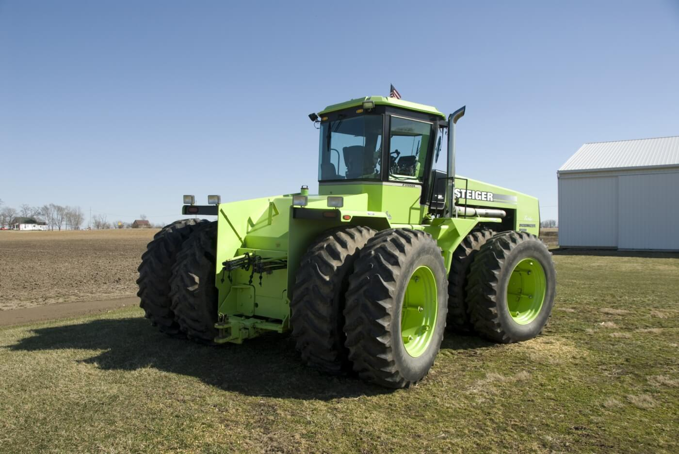 The Panther had an optional PTO and a 3-point lift, but they aren't common—Daron's doesn't have either, just a huge drawbar and four pairs of remotes. Four radial 20.8R-38 tires put the power to the ground. The original tires size was listed as 23.1-34 non radials.