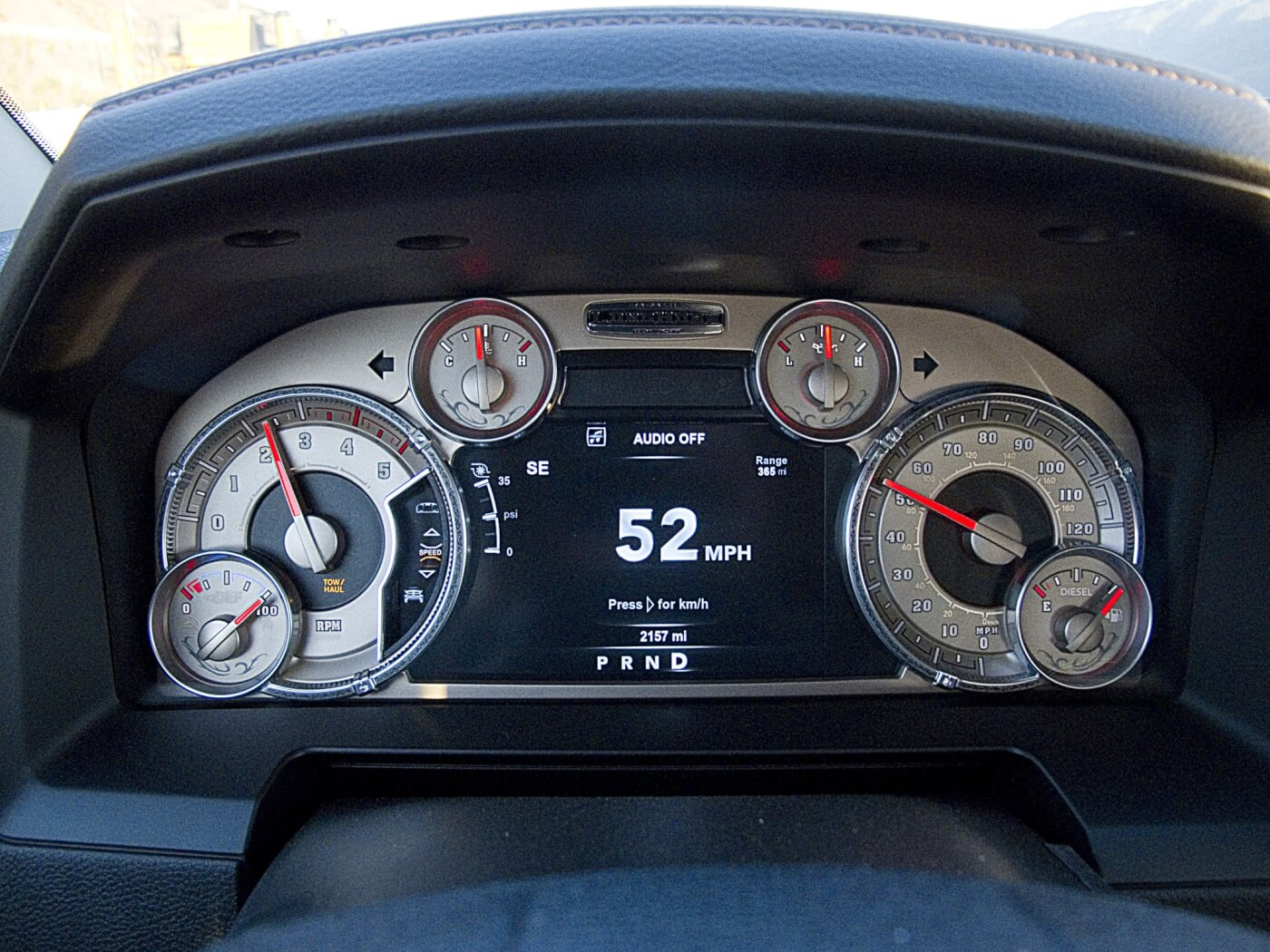 9. The Dash cluster on Ram trucks is well laid out and features both analog and digital information. The DEF fluid level, fuel level, tach, engine temp, oil pressure, and speedometer are all analog. In addition to the analog speedometer, a digital display also can be set to show the current speed in large numbers at the same time. A turbo boost gauge is also available on the digital display as an analog readout.