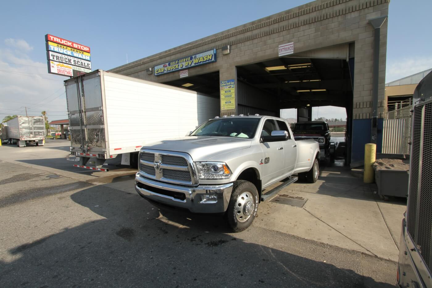 10. Self-wash booths large enough for an 18-wheeler and trailer will also fit your dually pickup and trailer. You'll never get your dually into a drive through car wash.