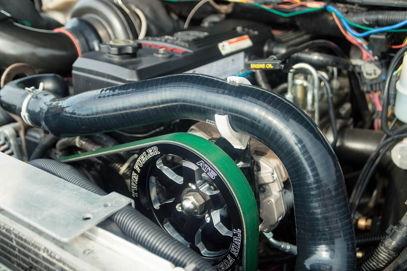 Thanks to a second CP3, Brett is able to take full advantage of the 200-percent over Exergy Performance injectors he's running. A 12mm Exergy pump resides in the factory location. With the belt-driven Sportsman pump (also from Exergy) in the mix, more than 200 additional horses were gained over running just the 12mm unit.