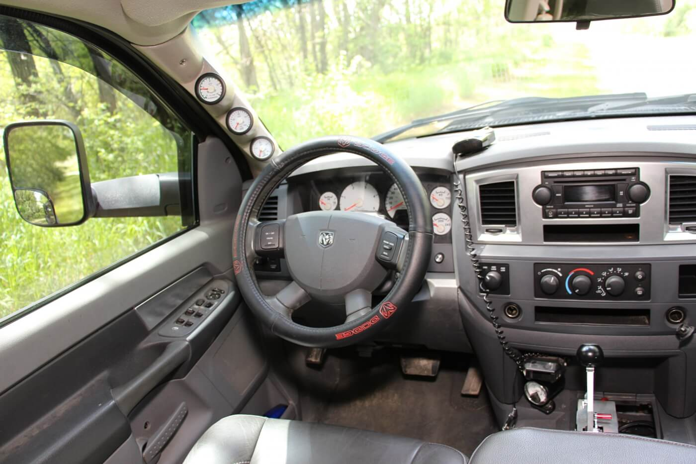Once in the cab, most folks immediately notice how nicely done the leather seats are (they were reupholstered by leatherseats.com). However, the first thing we spotted was the radar detector sitting on the dash. After all, if you own a truck that makes 80psi of boost, more than 1,100hp, and is capable of running 10's, you might want to know when the boys in blue are nearby.