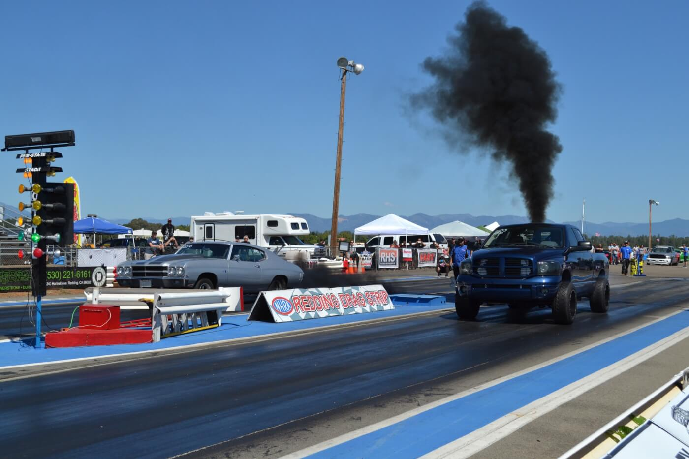 Adam Aquino (near lane) was shooting for 10s after dynoing a wild 920 hp to the wheels but ended up having to pedal the truck and ran in the low 11s (but at 123 mph). The Duramax-powered Chevelle in the other lane belongs to Rick Fletes and ran an impressive 11.7 at 115 mph on a bone stock engine with a tune!