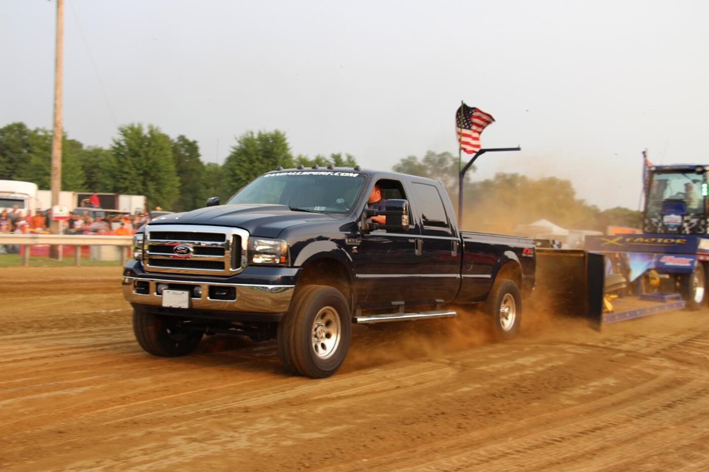 Putting his Cummins-powered Super Duty tow rig to work was Corey Finch. But although the ZF-6 shifted, 2005 Ford sends a respectable 680 hp to the ground, a hurt dual disc clutch hampered his efforts to make it to the top in Open Street.