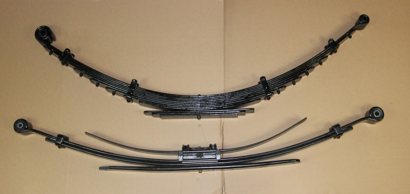 10. Here is a comparison of the OEM rear spring and the new Deaver springs in the Carli Kit. The new rear leaf springs are a multi-leaf design that rides better under virtually all conditions.