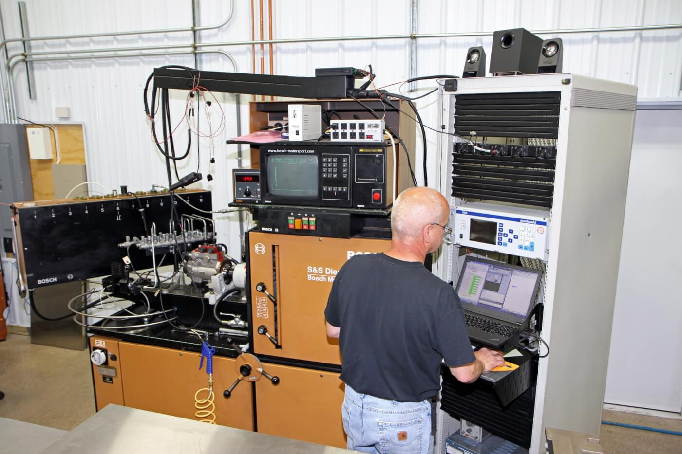 13. The S&S team has a large test machine to measure and verify injector flow and solenoid operation. Each injector within a set is matched to flow within ±0.5% which is a tighter tolerance than OEM standards.