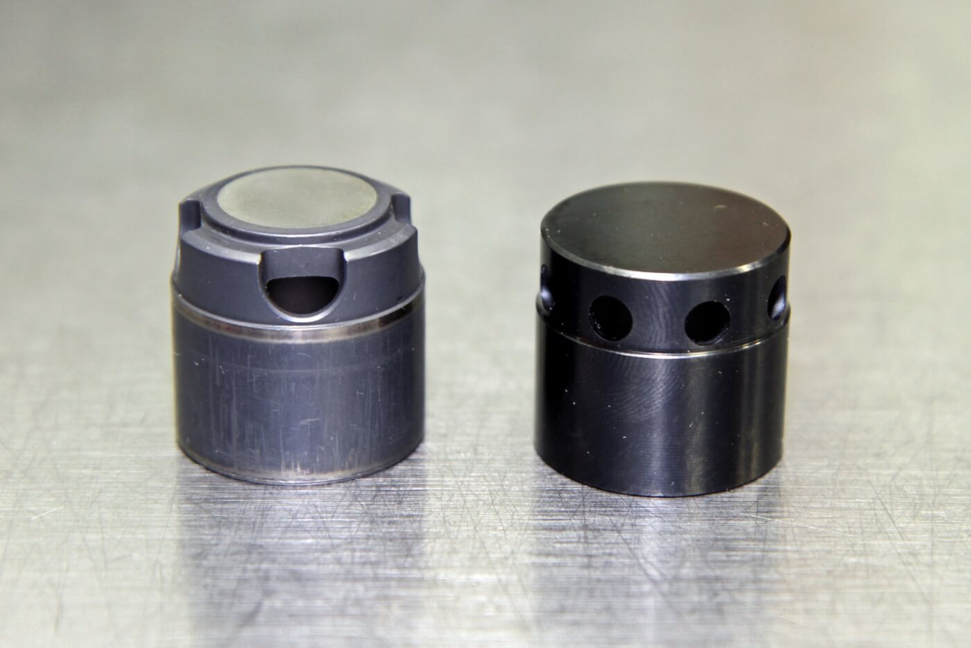 17. On the left is a stock CP3 cam bucket that is used in a standard stroke pump while the bucket on the right is the custom designed unit that S&S uses for their 12mm and 14mm pumps. They use a modified factory bucket for their 10mm pump.