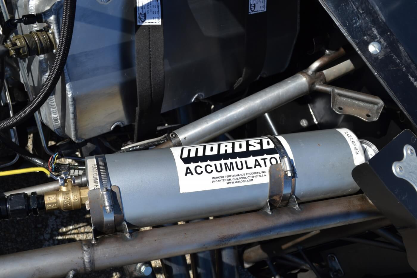 With so many one-off pieces, a Moroso oil accumulator was employed at start-ups to reduce wear. The accumulator will also fire off quarts of oil instantly in case the engine ever loses pressure, to prevent bearing, ring, or other engine damage.