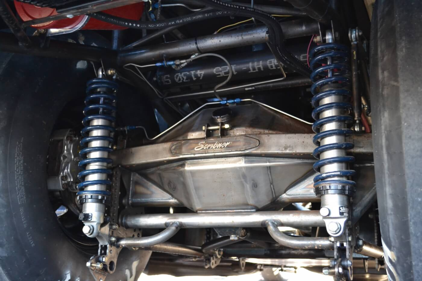 Traditional diesel rear ends are strong but heavy. This fabricated, back-braced housing built by Scribner is both strong and light. The rear end also has a diesel-specific 2.91 gears to keep the big engine in its power band.
