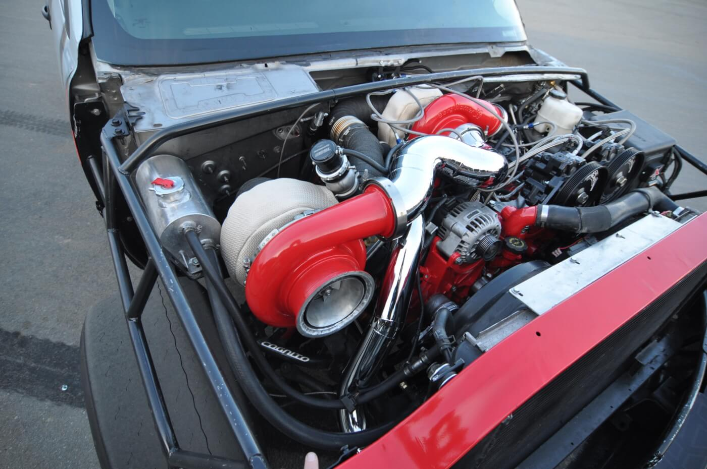 The turbo system is a custom setup with Industrial Injection S480/S510 compound turbo combo.