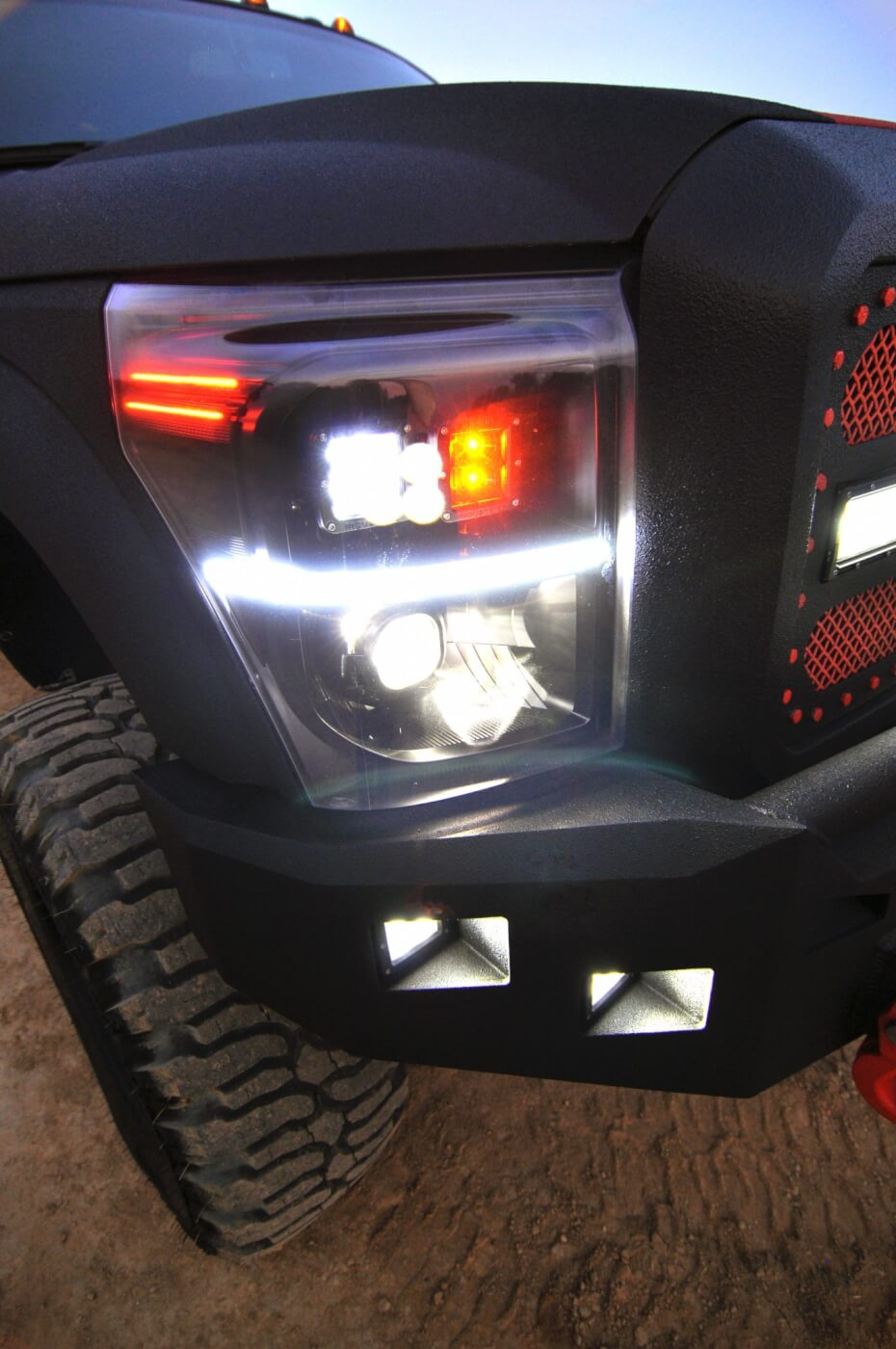 EcoTint custom built a set of headlights for Keaton's truck. They're painted to match and feature Diesel Power Gear LEDs in place of the stock incandescent lights.