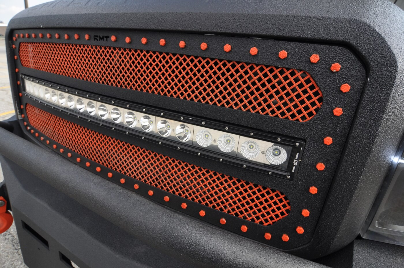 Race Mesh Truck grille with a 40-inch Diesel Power Gear LED Bar.