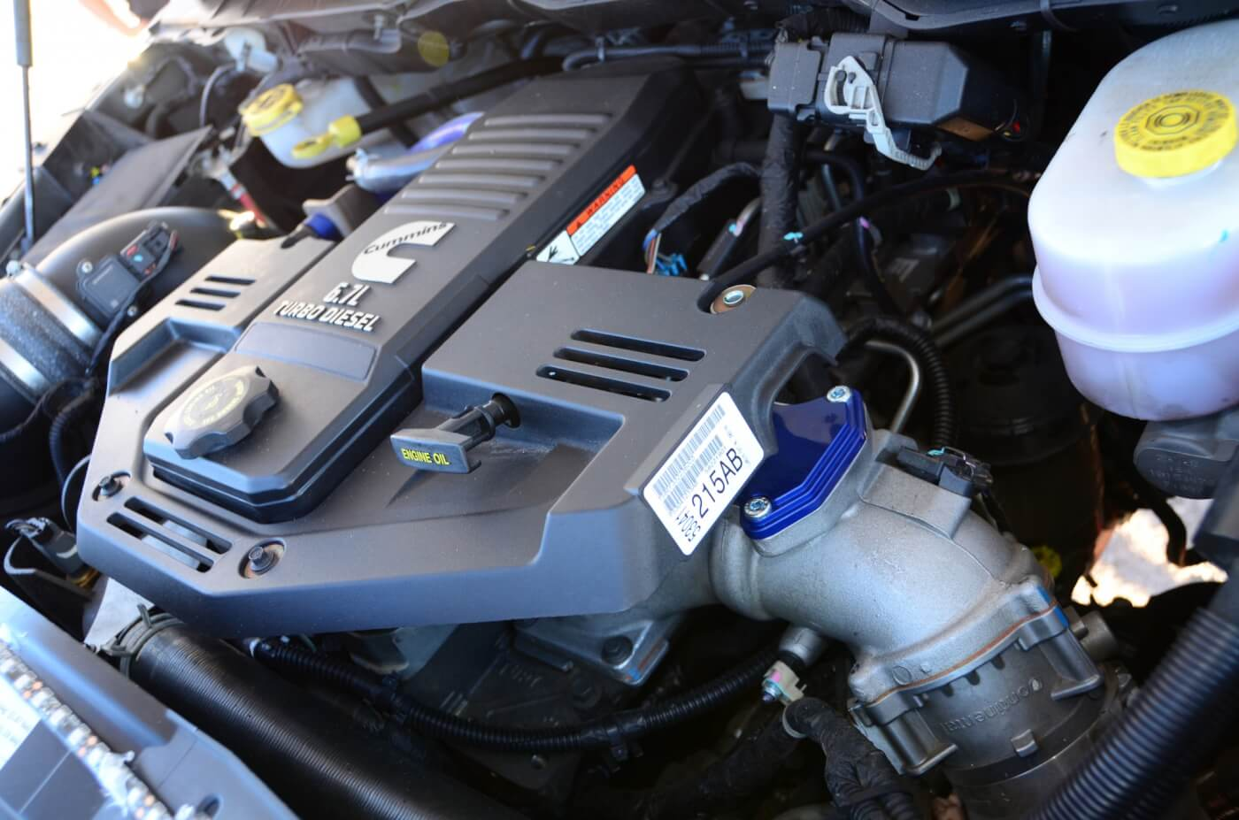 The 6.7L Cummins under the hood was treated to an S&B cold-air intake and a Diamond Eye five-inch turbo-back exhaust, as well as an H&S Mini Maxx Race Tuner.