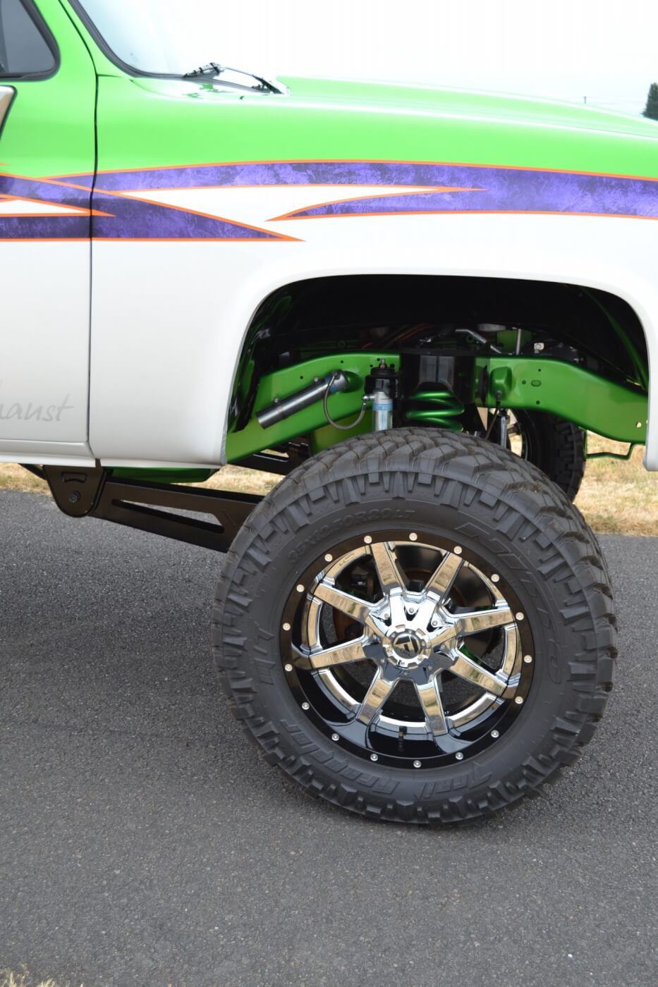 One of the coolest aspects of Bennett's conversion truck is the radius arm front suspension, which Bennett designed himself. Using custom coil buckets and radius arms, an '05 Super Duty front axle was mounted underneath the Chevy, taking it from two-wheel drive to four-wheel drive.