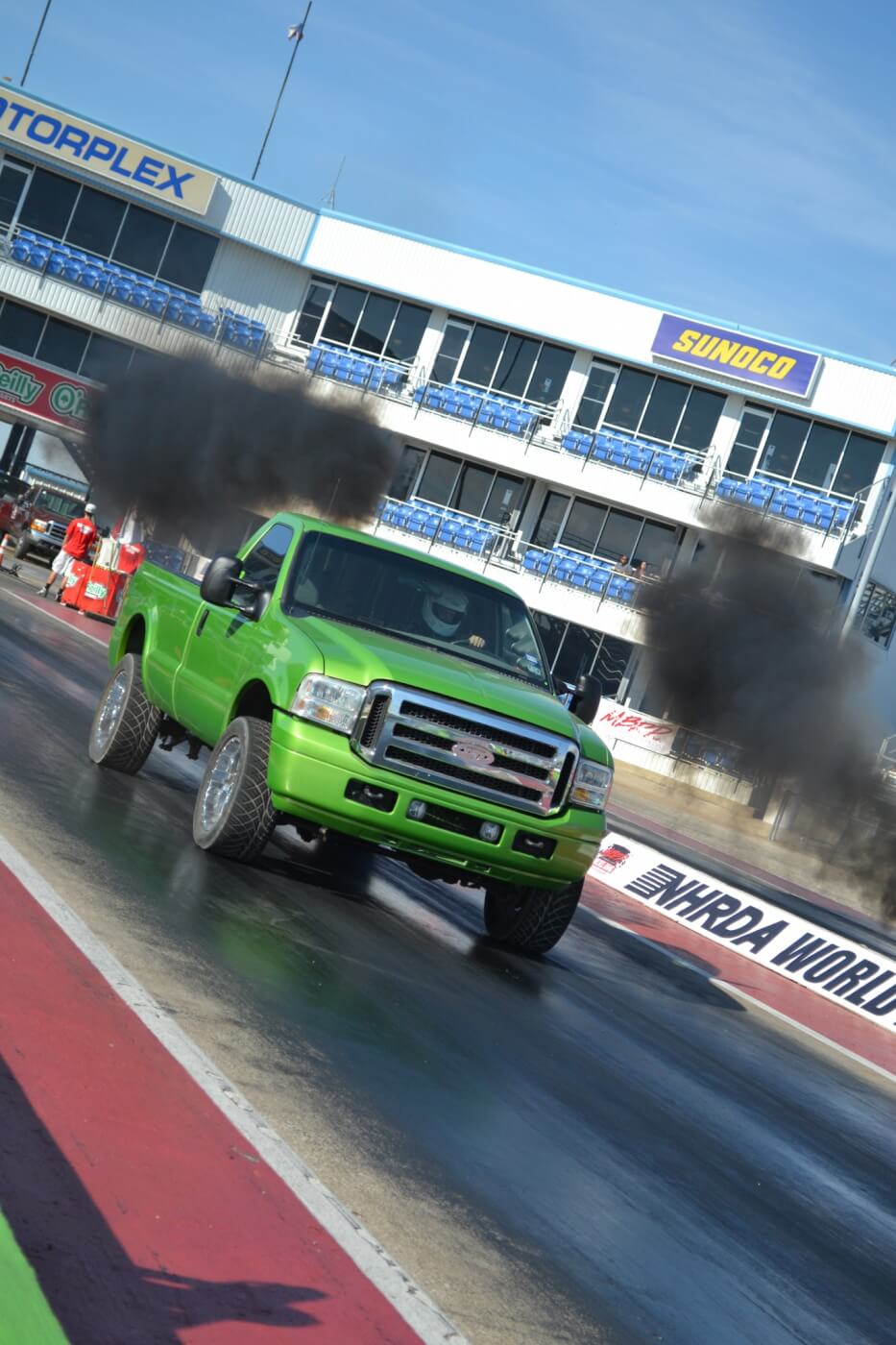 A number of Sportsman and Index Classes were available to competitors, like the 11.90 Super Diesel and 10.90 index classes. This bright green Ford made it a number of rounds in the 11.90 class, which is usually dominated by Dodges and GMs.