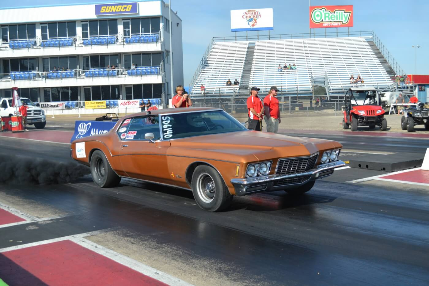 Another unique vehicle on the strip was Brandon Carr's 5.9L VP44 Cummins-powered Buick Riviera, which actually had to slow down from its usual low 11-second elapsed times in order to run 11.90.