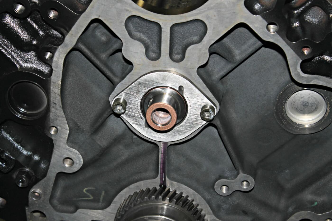 4. Once installed in the engine block, the camshaft has a small two-bolt retainer that holds it in place. All performance camshafts offered by Empire Diesel come pre-machined with a keyway on the end to help with locating the timing gear set. The keyway is a much stronger design than the factory dowel pin, which has been known to shear off in higher-performance applications.