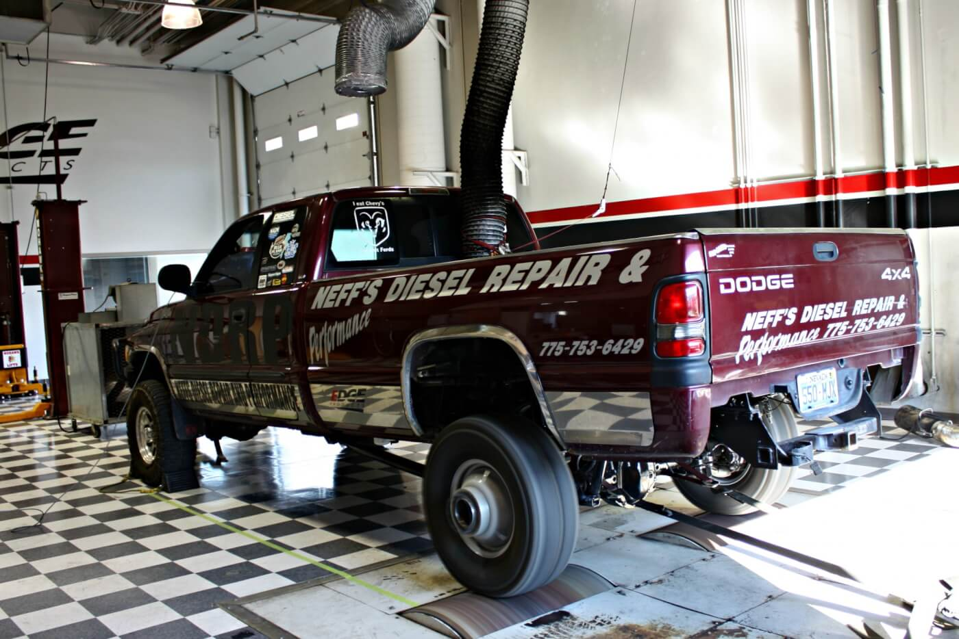 "Jeremy Neff's ""Rolling Billboard"" pulling truck managed to lay down 777 hp on the chassis dyno Saturday morning. Later that night he won 3.2 with a 275-foot pull, putting more than 5 feet on the second place truck."