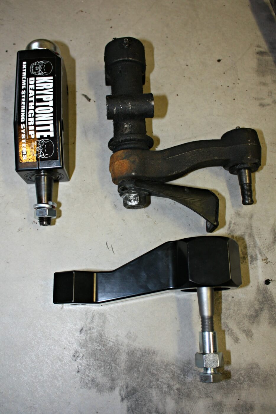 12. The new Death Grip idler arm uses a sealed double roller bearing design for prolonged life and durability. When paired with the support gusset that will be bolted to the original bracket and welded to the truck's frame, this system should remove any flex or movement from the idler arm assembly and ensure positive steering input.