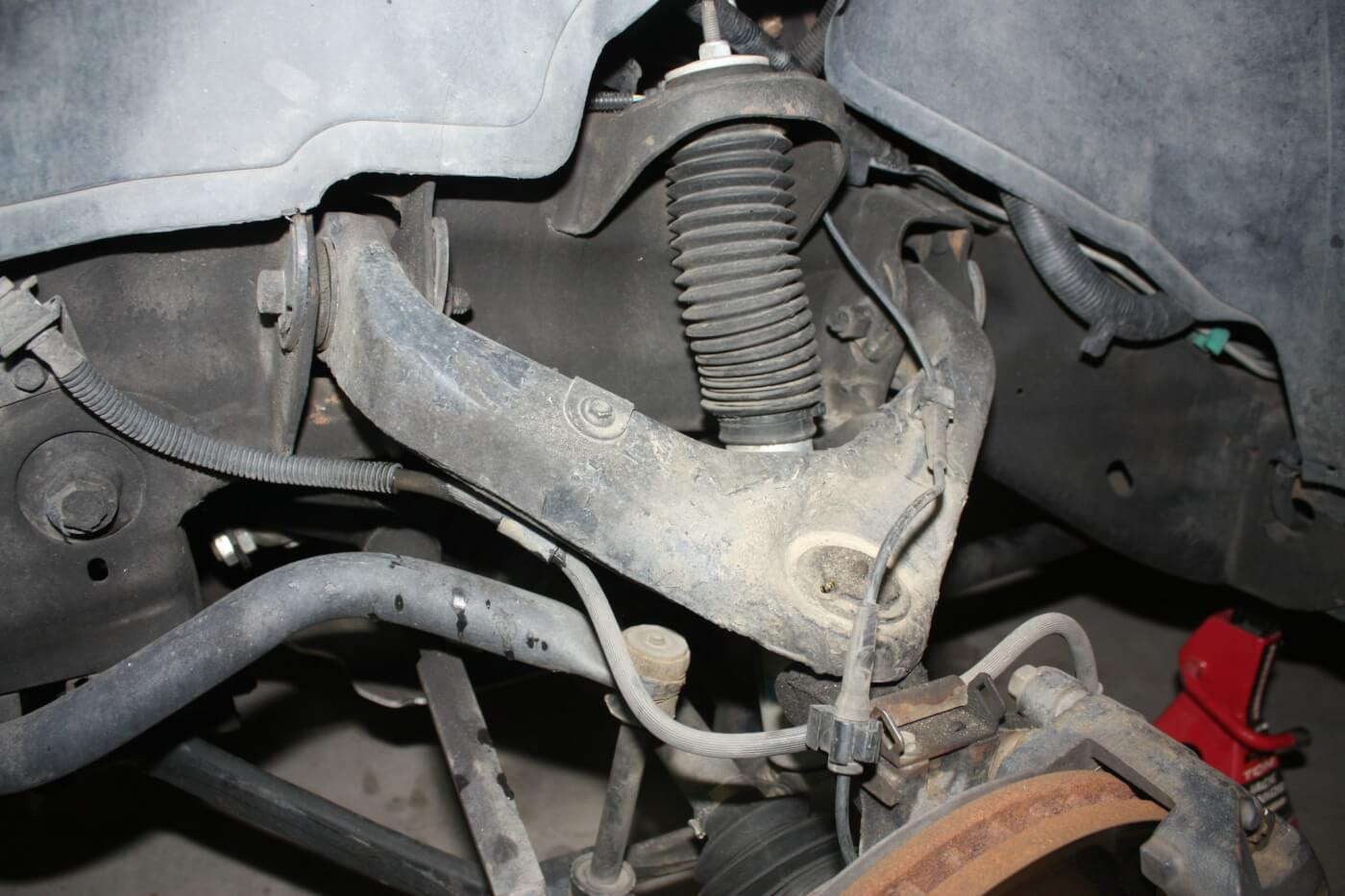 2. With the GM independent front suspension, leveling the front of the truck can be easily achieved by adjusting the factory torsion bars. But this changes the angle of the upper control arm and can lead to premature ball joint wear. Replacing the UCA with the beefier Kryptonite unit adds strength and improves ride quality.