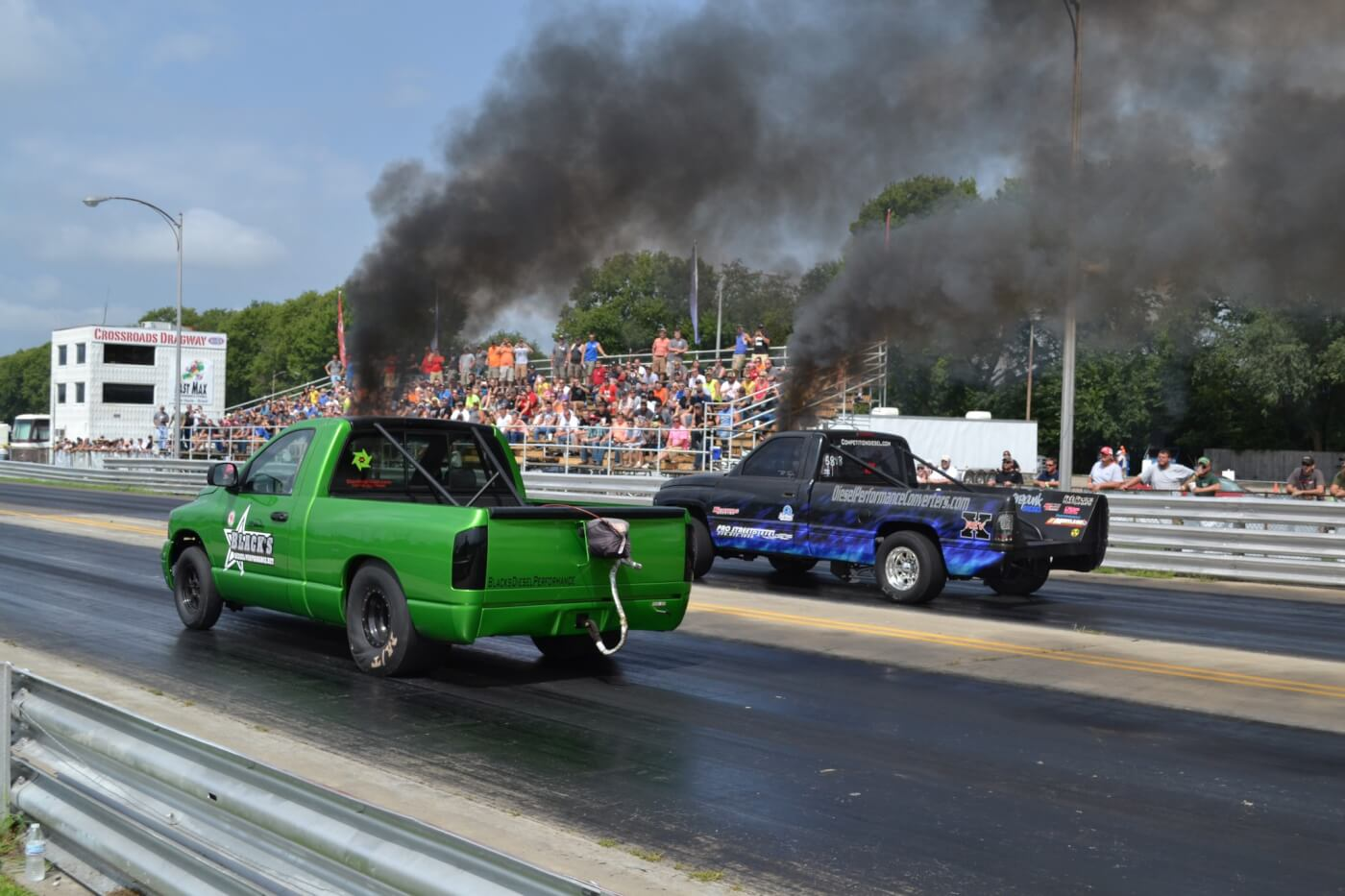 Here's an example of the popular 2wd versus 4wd battle that occurs on drag strips across the country. As you can see by the race here, competition is almost always close!