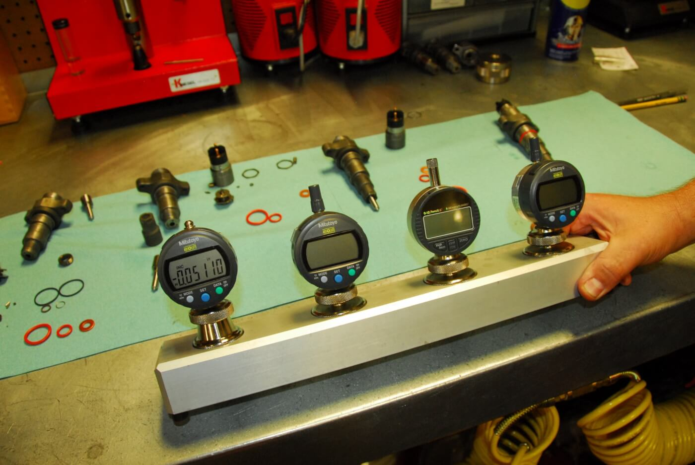 12. These four precision gauges are used for evaluating the air gap, and both the armature lift and nozzle lift of an injector.