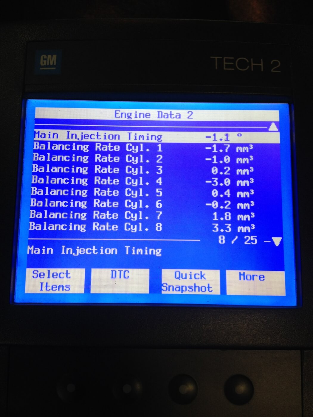 3. To diagnose a poorly running engine, a scanner (seen here, a GM Tech2) displays the OBD fault codes and also can display the injector balance rate.