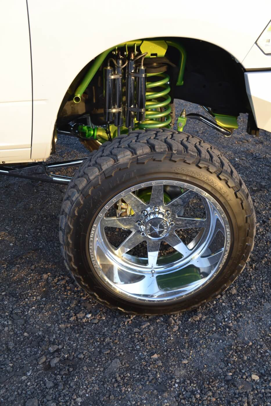 The right set of wheels can do a lot for a truck, so Joey was careful with his selection. In the end, a set of 24x12-inch Evade wheels got the nod for their killer looks.