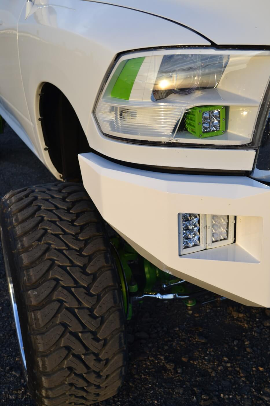 Small details are integrated into the '12 that might not be noticed right away. The headlights for instance, were matched to the rest of the truck by Out of Body Solutions in Modesto, California.