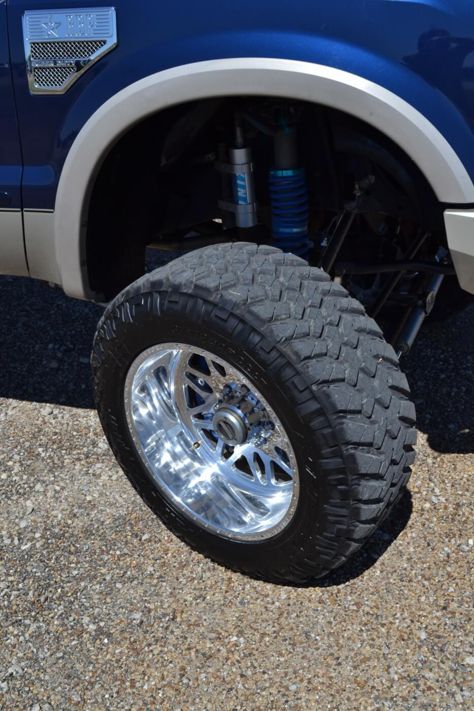 The front suspension has King coilover shocks as well, just like the rear. Slightly less travel is available (10 inches) although it's still plenty for most terrains and is much more than F-250s came with from the factory.