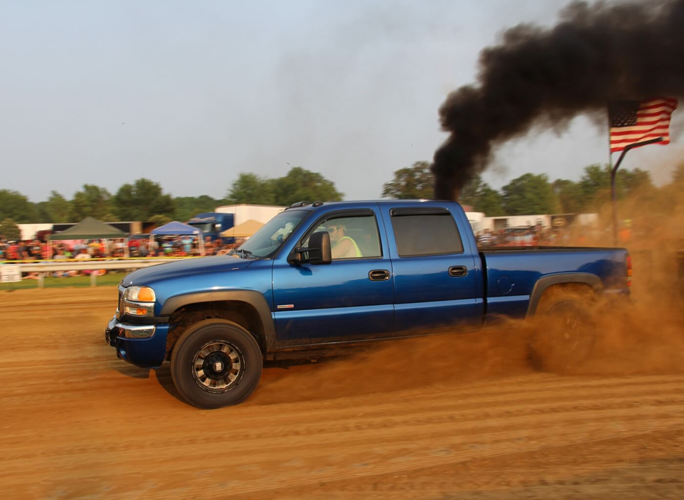 Despite having a serious boost leak, Chance Meyer's GMC still ended up taking Fourth Place in the Work Stock Class. With an S366 feeding a built LB7 Duramax, and 100-percent over injectors combined with dual CP3s fueling it, this truck could've easily been the frontrunner.