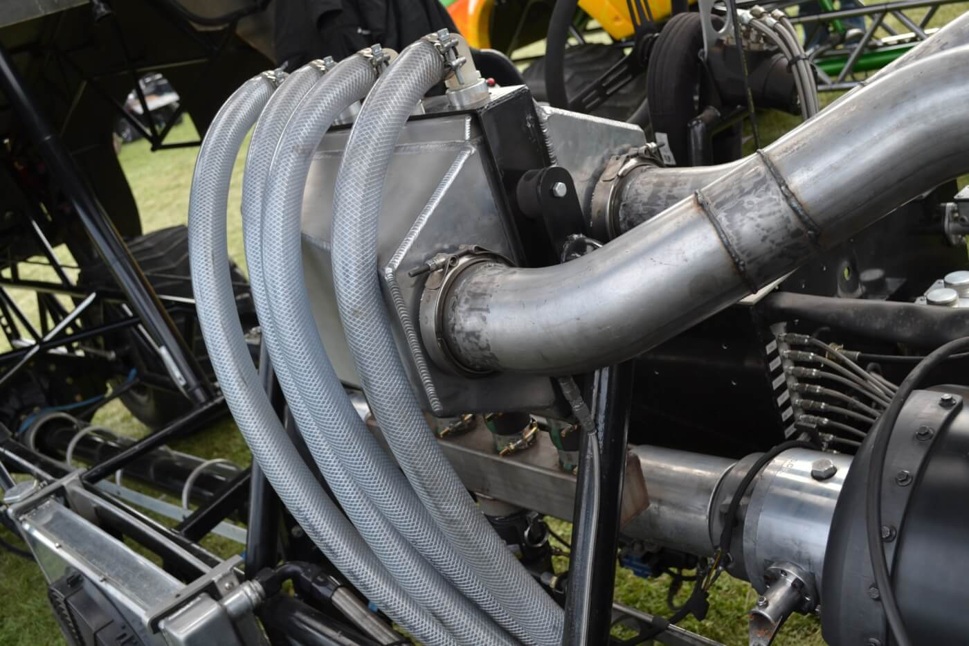 A heavily reinforced Precision air-to-water intercooler is used to control intake air temperatures down to slightly above ambient. The piping for the intercooler was built by Crank It Up Diesel, and the system consumes more than 80 lbs. of ice per pass.