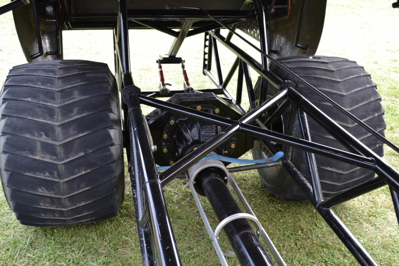 There's no suspension out back, just a SQHD axle that can handle the massive strain put on the rear end from a 40,000-lb. pulling sled. The axle in the rear runs 6.20 gearing, as does the Rockwell up front.
